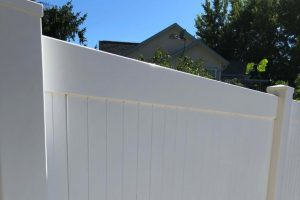 Fence after pressure washing
