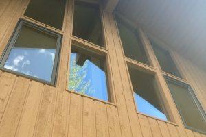Clean windows on cabin